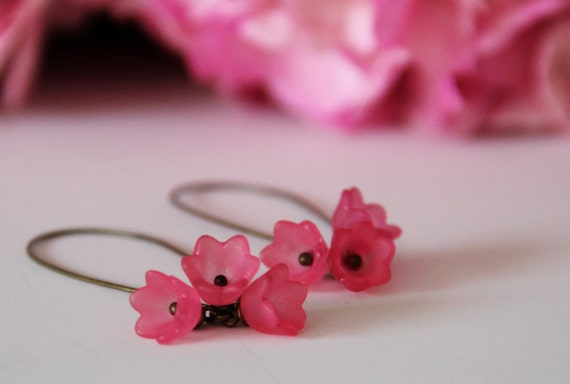 Pink Cherry Blossom Earrings - Handmade Lucite Jewelry