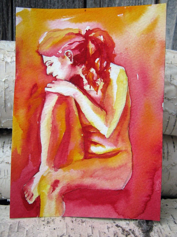 Original Painting Watercolor Abstract - Nude Study VI - Modern Contemporary Art Portrait in Red and Yellow