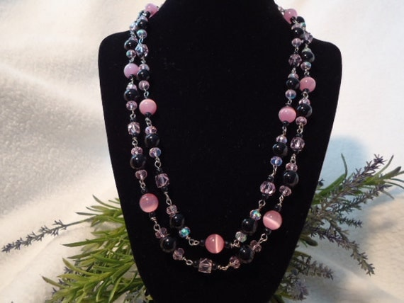 Pink and Black Double Strand Beaded Necklace