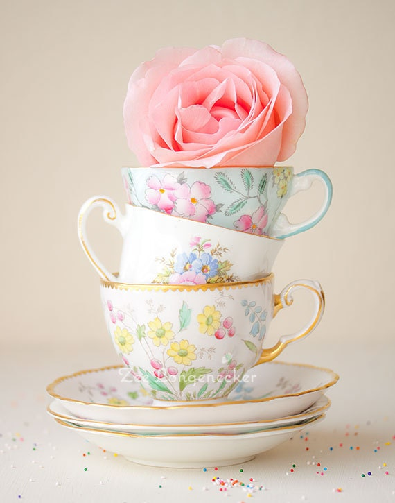 Tea Cups - Rose - Flower - Shabby Chic vintage tea cups and a pink rose - Feminine charming romantic Still Life Photography small print