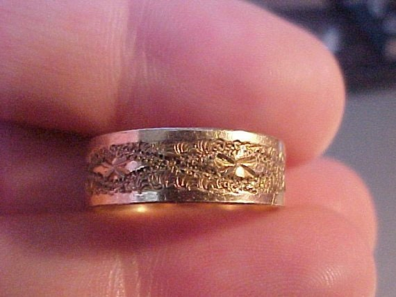 Antique Vintage Victorian Rose Gold Wedding Ring Band 1800s Gothic 14K 10K