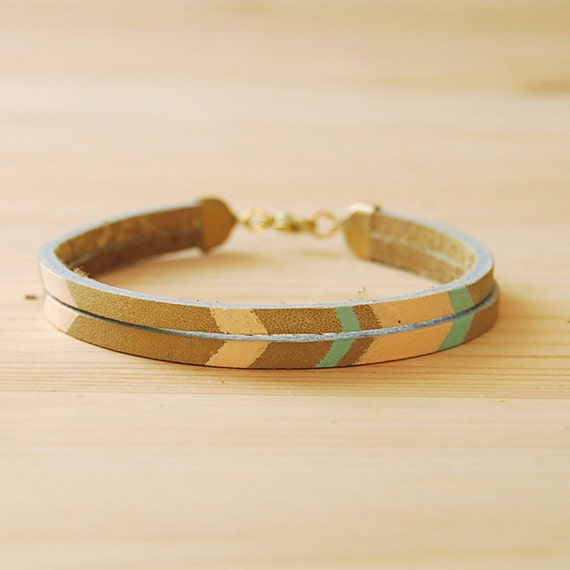 "Leather Bracelet in Beige with Pink and Seafoam Green Chevron Pattern, ""The Pecos Handpainted"""