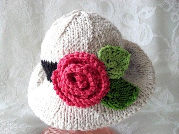 کودک کلاه بافتنی -- دست عاج کلاه نوزاد با لبه و گروه سیاه و سفید و شیرین گل این لباس تا زمان بافتنی -- موجود در انبار : 0-3 MOS.