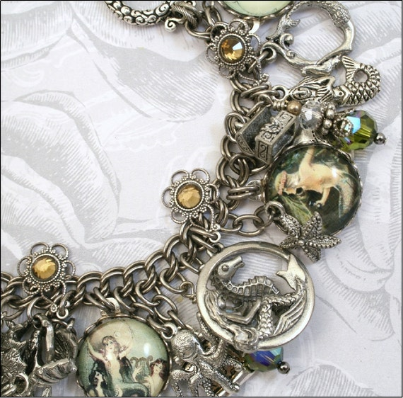 Treasures from the Sea, Mermaid, Vintage Inspired Charm Bracelet