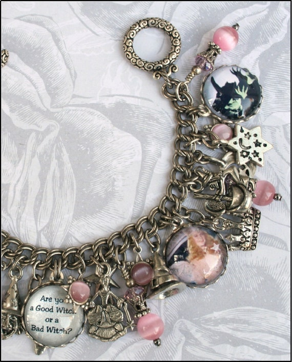 Good Witch or Bad Witch, Wizard of Oz Vintage Looking Charm Bracelet, Pink