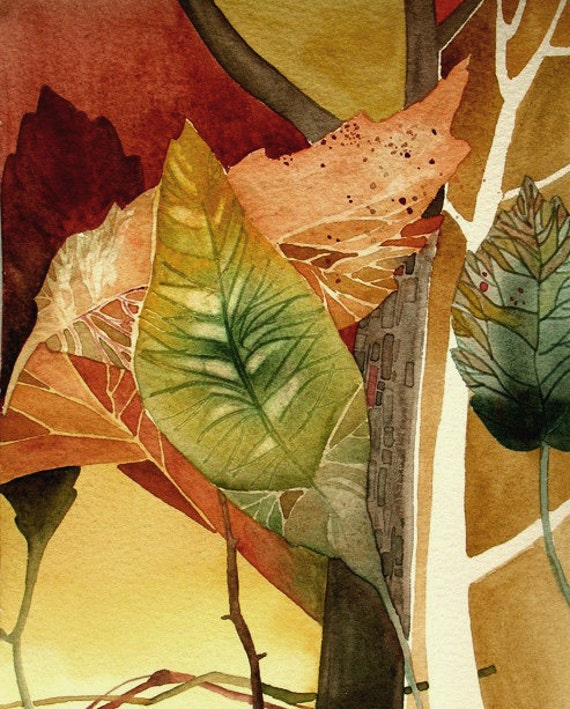 Autumn Leaves - Watercolor - Abstract Painting - 8x10 print