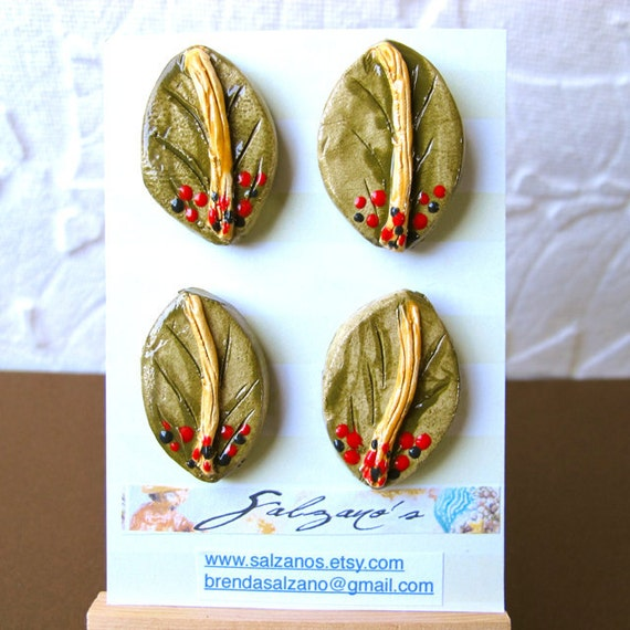 Stoneware Handmade Nature Leaf Buttons done i