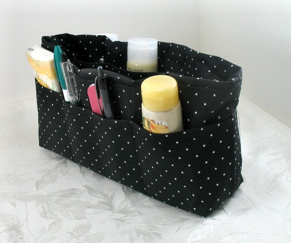 Purse Organizer Insert with Enclosed Bottom - Black with White Dots -  Large - Check out shop for other sizes available