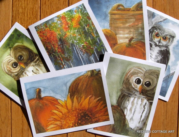 Greeting Cards Set of 6 Autumn Watercolor Prints 5 x 7 Blank Cards