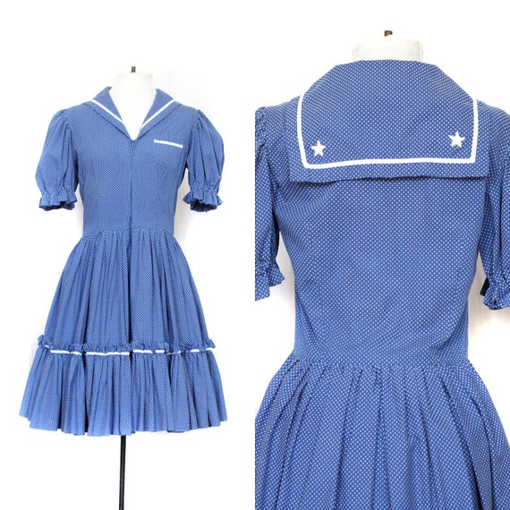 Vintage Sailor Dress VIntage Nautical Dress Blue and White Polka Dot Square Dance Dress with Amazingly Full Ruffle Skirt and Matching Shorts