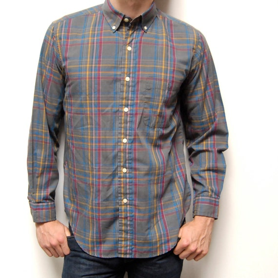 GREY PLAID shirt tartan cool colors long sleeve button up