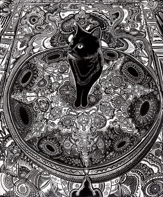 black cat drawing, cat sitting on carpet, cat art