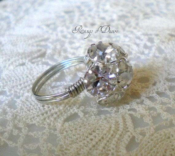 Vintage Button Clear Rhinestone Wire-Wrapped Ring  Custom Sizing