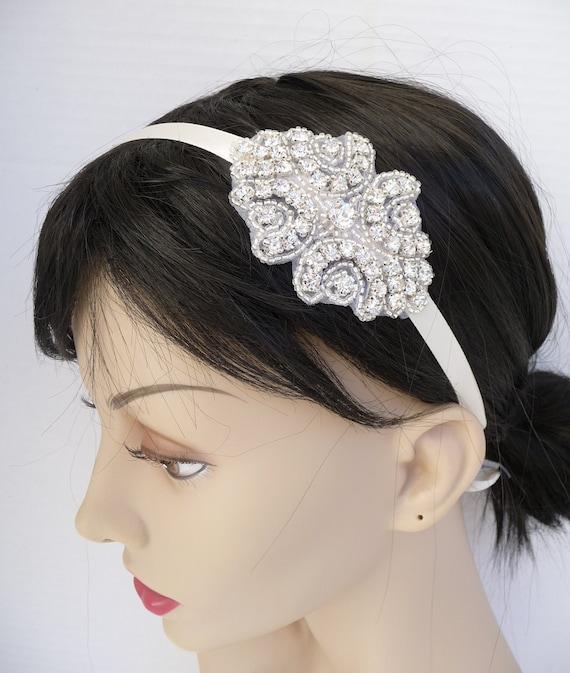 Bridal Rhinestone Headband, Ribbon Headband, Rhinestone Headband