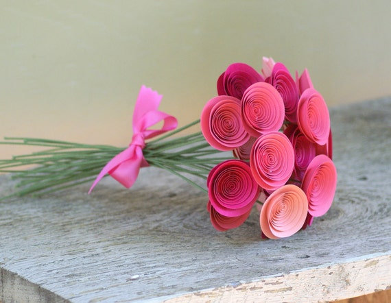 Pink Centerpiece, Paper Flowers -- Hot Pink, Salmon Pink, Pale Pink -- Baby Shower Decor