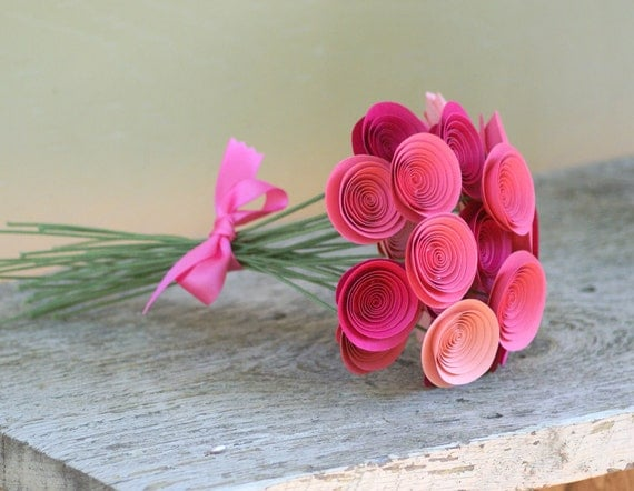NEW Mini Rose and Pink Paper Flowers