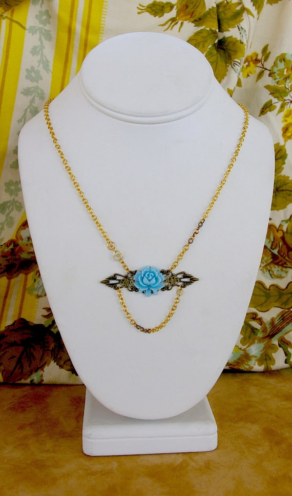 Pelotonia Fundraising Sale- Blue Flower Necklace