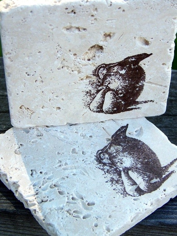rustic coasters - pears and pitcher - tumbled marble tile