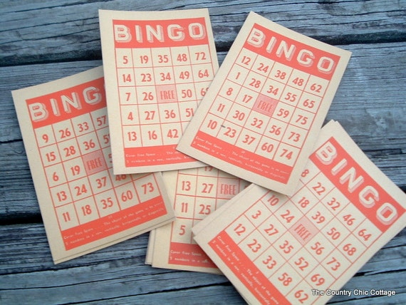 Bingo Cards Set of 10 Paper Ephemera
