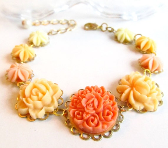 Flower Bracelet, Orange N Yellow, floral bracelet, resin flowers, gold plated settings