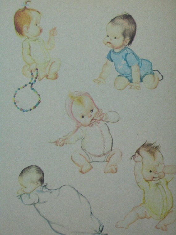 The NEW BABY, Vintage Little Golden Book, Eloise Wilkin, 'J' Edition, 1948