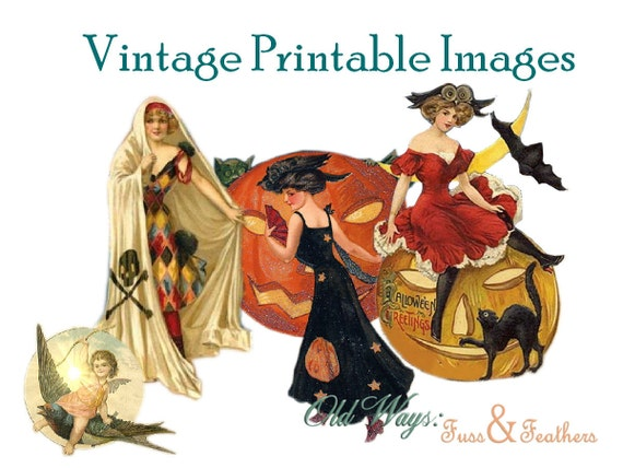 Pretty Witches Vintage Halloween Images - You Print, You Create Digital Collage Sheet - DIY Printable PDF File