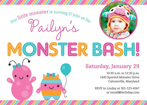 Little Monsters party - Set of 15 custom photo invitations - Printable file also available