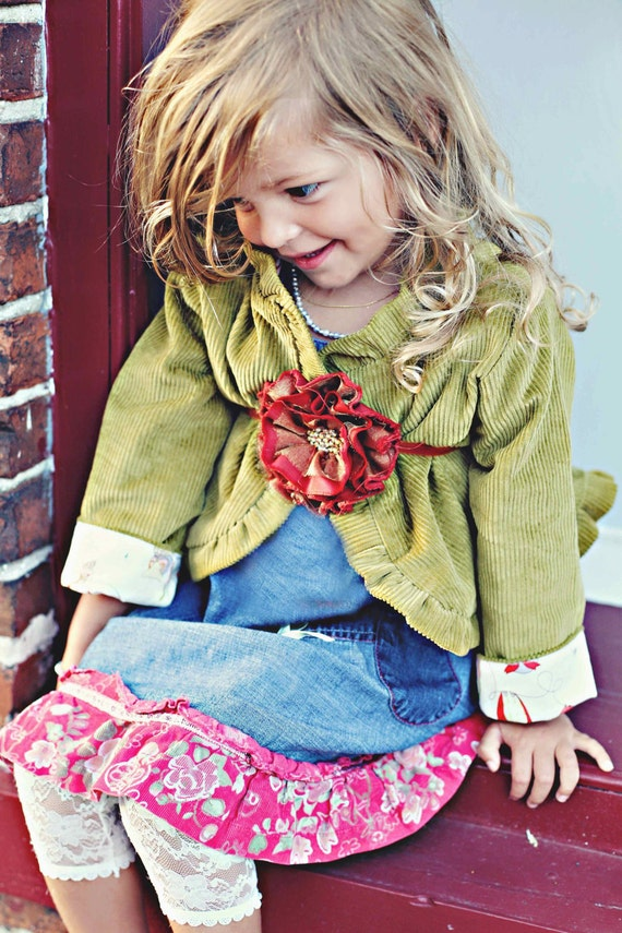 Chic Moss Green Corduroy Ruffled Jacket