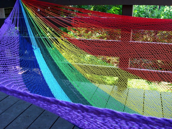Mexican hammock, rainbow color,Family size
