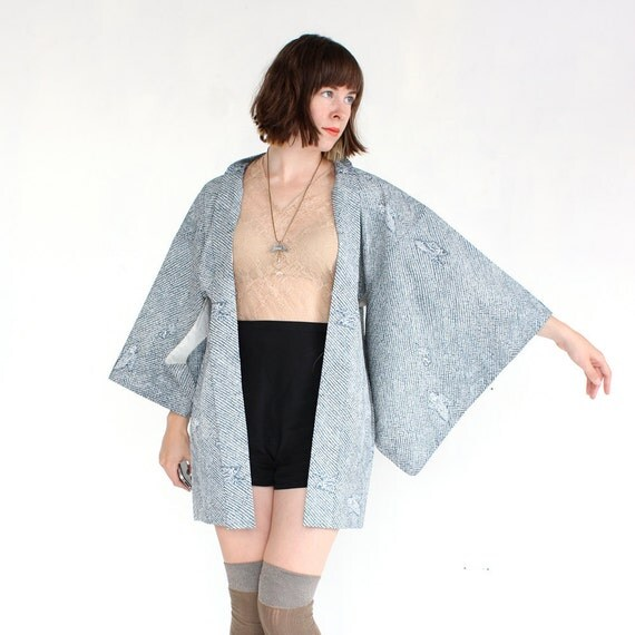 vintage KIMONO blouse slate blue japanese jacket