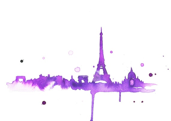 Watercolor Travel Illustration - A Purple Paris print