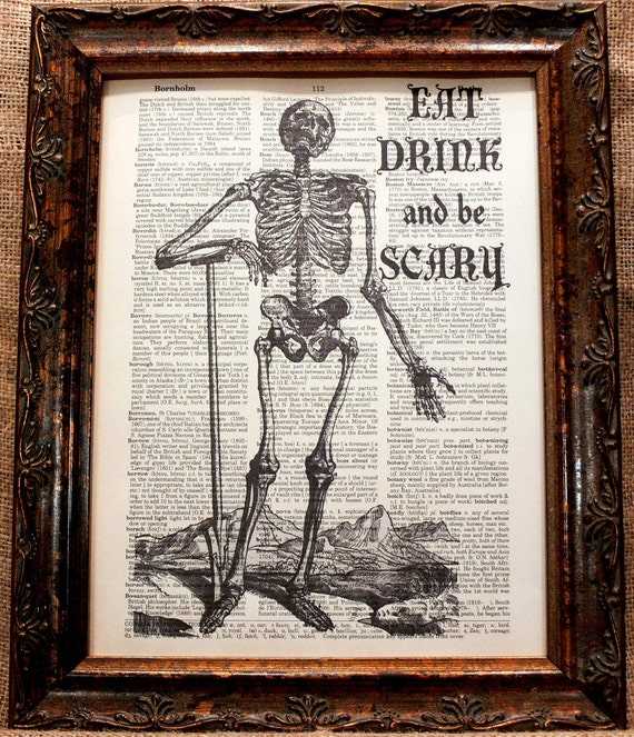 A Page in Time Design Halloween Quote Art Print on Vintage Dictionary Book Page