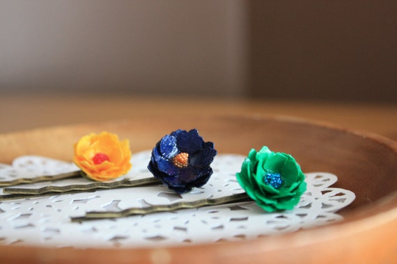 Set of 3 Vintage Paper Flower Hairpins -Navy Yellow Green- Unique Hair Accessories