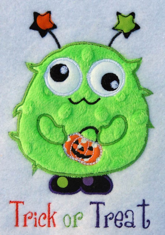 Googly Green Monster Halloween Personalized Applique Shirt/Onsie Girl/Boy - Girly Girl Bows
