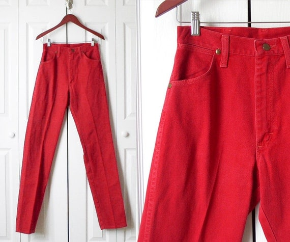 Vintage 80s Bright Red Long and Lean Jean Sz 6 7 Long