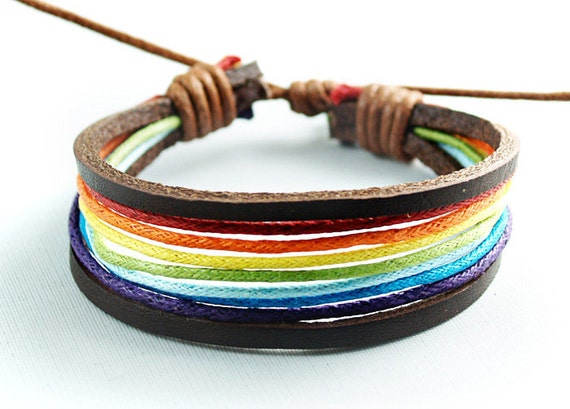 Brown Leather Color Wax Rope Adjustable Charming Bracelet-With Rainbow