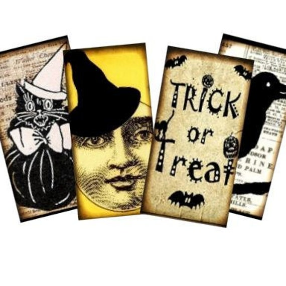 Vintage Halloween Silhouettes 1x2 Collage - tags glass tile domino jewelry supplies - U-print 300 dpi jpg