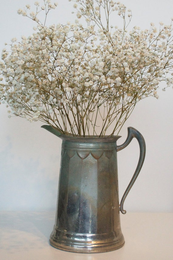 Vintage metal pitcher, Royal Rochester, Shabby chic