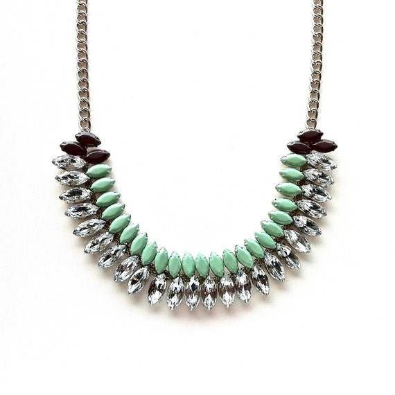 Mint Green and Mushroom Hand-painted Crystal Necklace