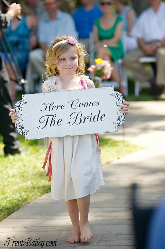 Here Comes the Bride DOUBLE SIDED Wedding Signs Flower Girl Ring Bearer photos vintage 10x24