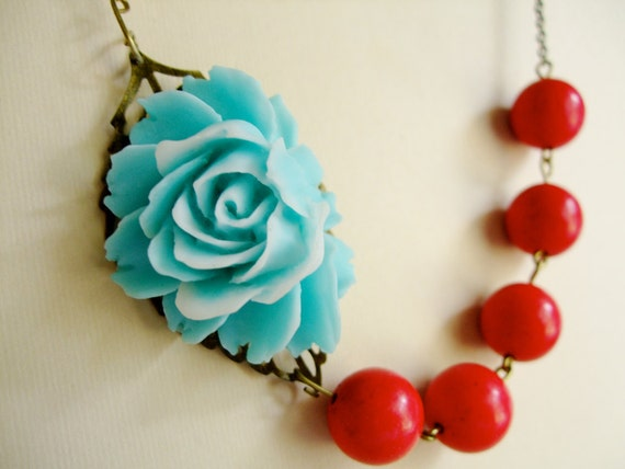 Aqua with White Flower & Red Turquoise Stone Necklace,Bridesmaid Bridal Gift,Marcy Ann(Free matching earrings)