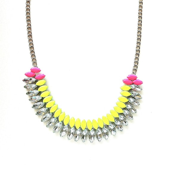 Neon Yellow and Neon Pink Hand-painted Crystal Necklace