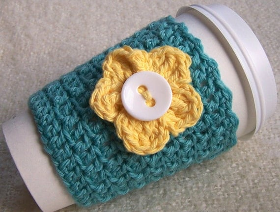 Crochet Cup Cozy - Coffee Sleeve - Robins Egg Blue Wool with Yellow Flower