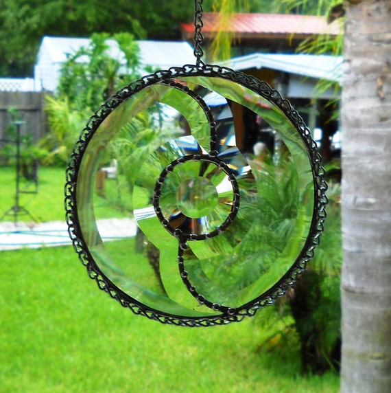 Beveled Stained Glass Suncatcher Window treatment Yin Yang