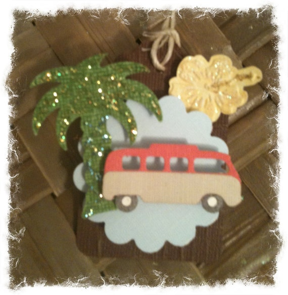 FOUR VW Microbus Retro Hawaiian Style Yellow Hibiscus Palm Trees Handmade All Occasion Gift Tags