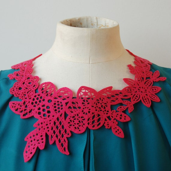 Lace Eco Necklace - Bright Pink Flower - Laser Cut - Recycled Felt