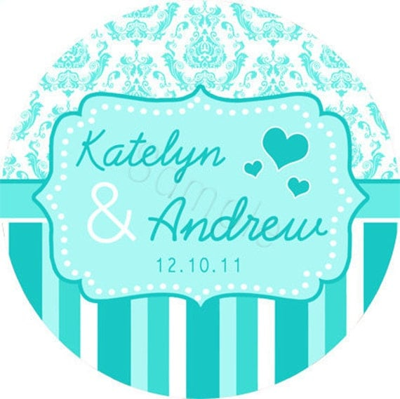 Custom Wedding Stickers Damask and Stripes Breakfast At Tiffany 39s