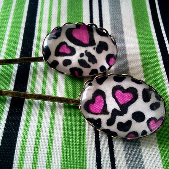 Hot Pink Heart Leopard Print Bobby PinsCameo by glamasaurus from etsy.com