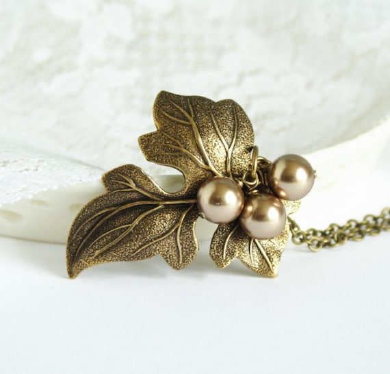 Brass Necklace - Maple Leaf Necklace with Bronze Pearls  - Gorgeous Autumn Jewelry