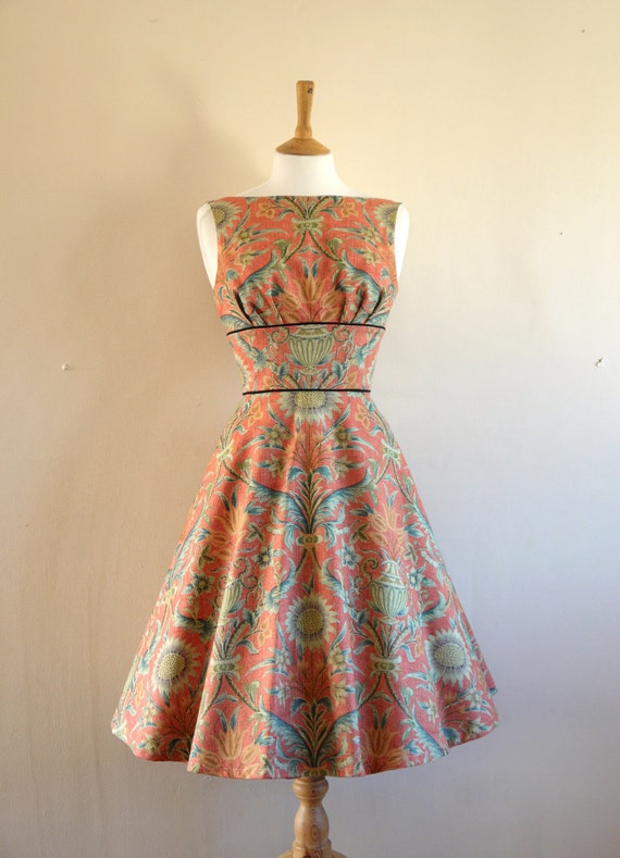Sunflower and Vase Print Tea Dress - Made by Dig For Victory